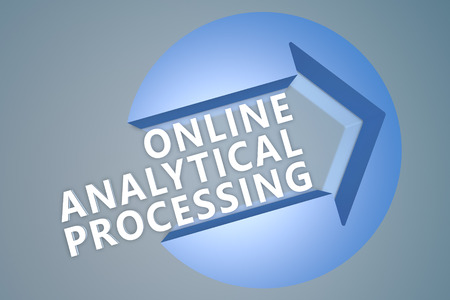 online analytical processing: Online Analytical Processing - text 3d render illustration concept with a arrow in a circle on blue-grey background