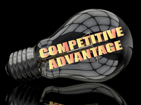 differentiation: Competitive Advantage - lightbulb on black background with text in it. 3d render illustration.
