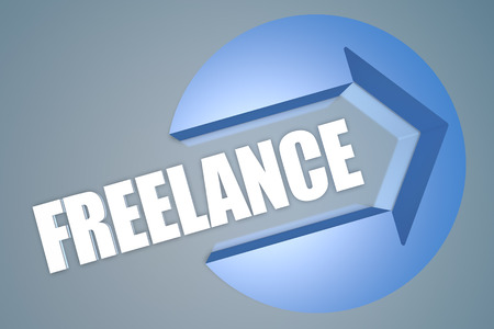 independent contractor: Freelance - text 3d render illustration concept with a arrow in a circle on blue-grey background
