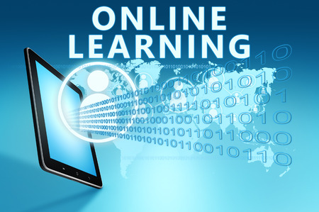 learning computer: Online Learning illustration with tablet computer on blue background