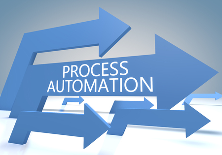 systems operations: Process Automation - render concept with blue arrows on a bluegrey background.