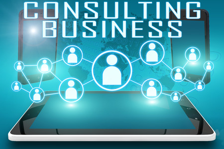 consulting: Consulting Business - text illustration with social icons and tablet computer and mobile cellphones on cyan digital world map background.