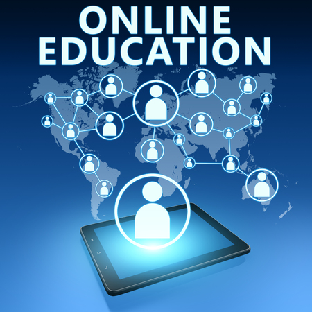 elearning: Online Education illustration with tablet computer on blue background
