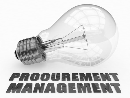 procure: Procurement Management - lightbulb on white background with text under it. 3d render illustration.