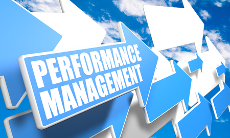 performance improvement: Performance Management - 3d render concept with blue and white arrows flying in a blue sky with clouds