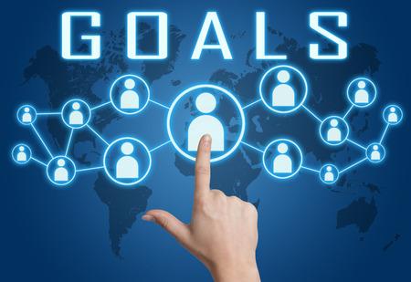 metas: Objetivos de concepto con la mano presionando iconos sociales en azul mapa del mundo de fondo.