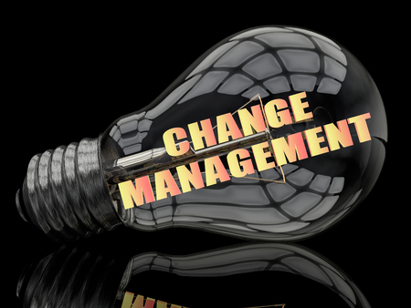 management concept: Change Management - lightbulb on black background with text in it. 3d render illustration.