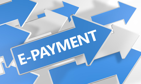 epayment: E-Payment 3d render concept with blue and white arrows flying over a white background. Stock Photo