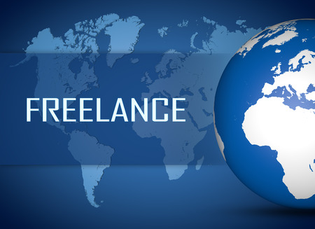 Freelance concept with globe on blue world map background