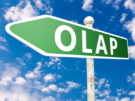 online analytical processing: OLAP - Online Analytical Processing - street sign illustration in front of blue sky with clouds.