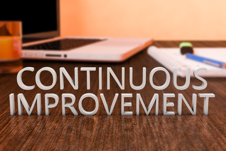 cip: Continuous Improvement - letters on wooden desk with laptop computer and a notebook. 3d render illustration. Stock Photo