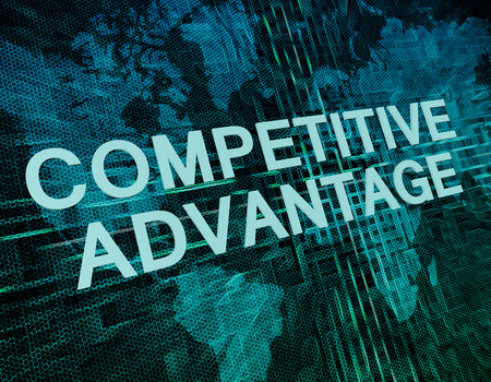 in differentiation: Competitive Advantage text concept on green digital world map background