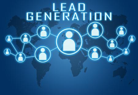 Lead Generation concept op blauwe achtergrond met wereldkaart en sociale pictogrammen.