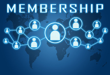 Membership concept on blue background with world map and social icons.