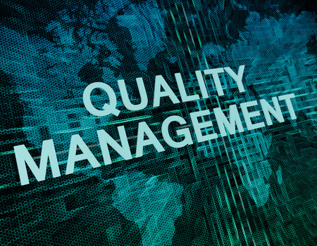 Quality Management text concept on green digital world map background Foto de archivo