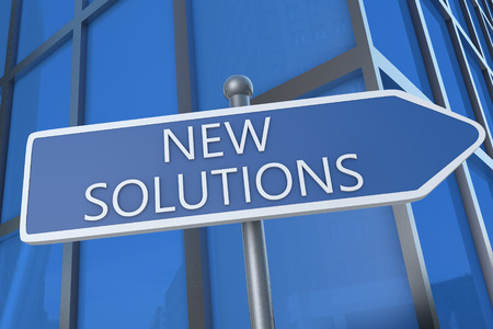 new solutions: New Solutions - illustration with street sign in front of office building. Stock Photo