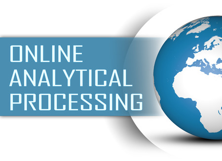 online analytical processing: Online Analytical Processing concept with globe on white background Stock Photo