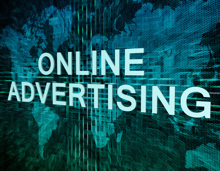 advertising text: Online Advertising text concept on green digital world map background