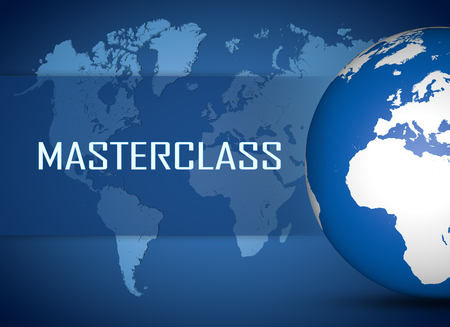 elearn: Masterclass concept with globe on blue world map background