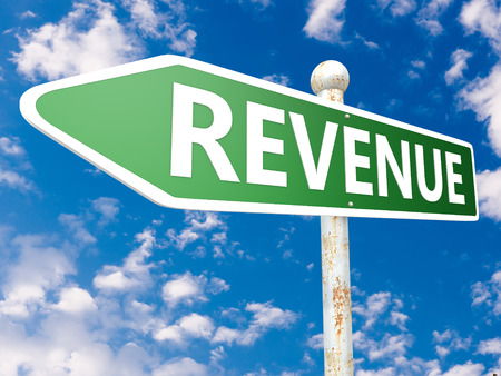 revenue: Revenue - street sign illustration in front of blue sky with clouds.