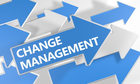 adapting: Change Management - 3d render concept with blue and white arrows flying over a white background. Stock Photo