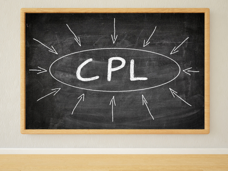 cpl: CPL - Cost per Lead - 3d render illustration of text on black chalkboard in a room.