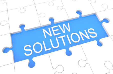 new solution: New Solutions - puzzle 3d render illustration with word on blue background