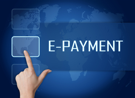 epayment: E-Payment concept with interface and world map on blue background