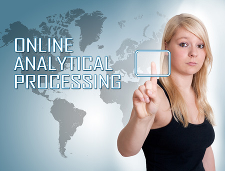 online analytical processing: Young woman press digital Online Analytical Processing button on interface in front of her