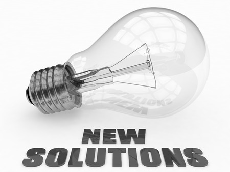 new solutions: New Solutions - lightbulb on white background with text under it. 3d render illustration. Stock Photo