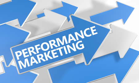 emarketing: Performance Marketing - 3d render concept with blue and white arrows flying over a white background.
