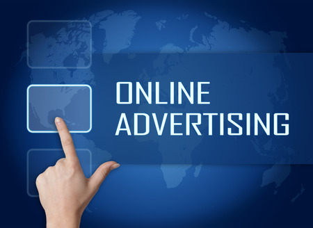 Online Advertising concept with interface and world map on blue background
