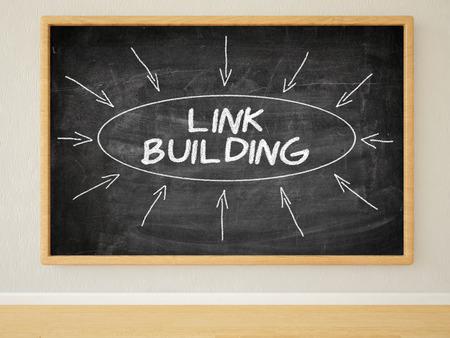 linkbuilding: Link Building - 3d render illustration of text on black chalkboard in a room.