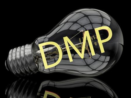 debt management: DMP - Data Management Platform or Debt Management Plan - lightbulb on black background with text in it. 3d render illustration. Stock Photo