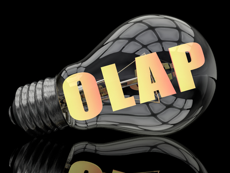 online analytical processing: OLAP - Online Analytical Processing - lightbulb on black background with text in it. 3d render illustration.