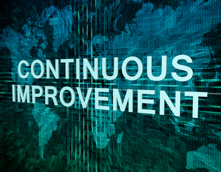 cip: Continuous Improvement text concept on green digital world map background