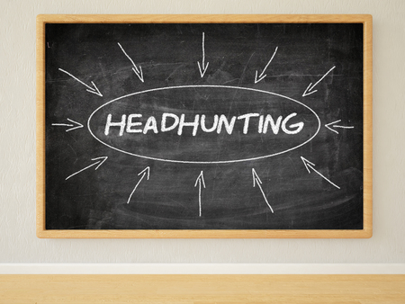 headhunting: Headhunting - 3d render illustration of text on black chalkboard in a room.