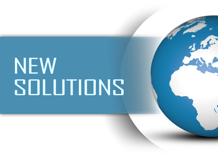new solution: New Solutions concept with globe on white background Stock Photo