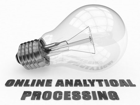 online analytical processing: Online Analytical Processing - lightbulb on white background with text under it. 3d render illustration.