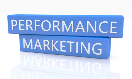 emarketing: Performance Marketing - 3d render blue box with text on it on white background with reflection