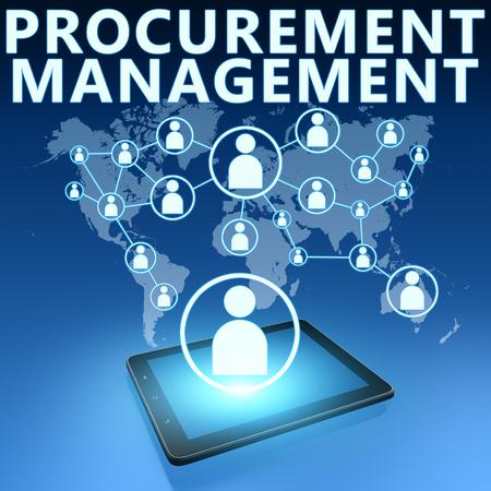 procurement: Procurement Management illustration with tablet computer on blue background