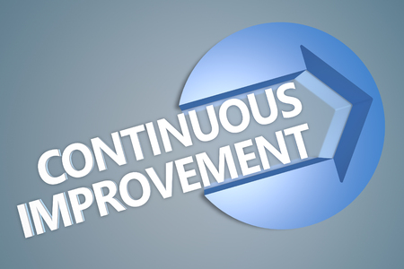 cip: Continuous Improvement - text 3d render illustration concept with a arrow in a circle on blue-grey background
