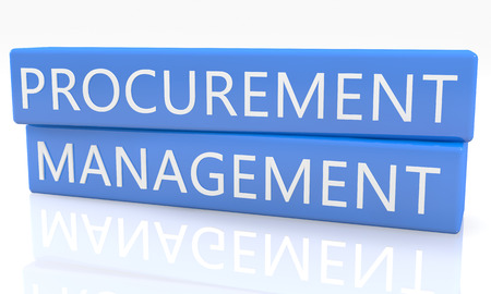 procure: Procurement Management - 3d render blue box with text on it on white background with reflection Stock Photo