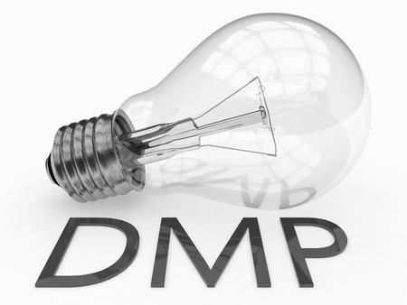 debt management: DMP - Data Management Platform or Debt Management Plan - lightbulb on white background with text under it. 3d render illustration.