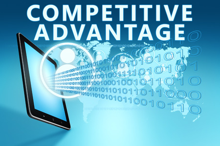competitive advantage: Competitive Advantage illustration with tablet computer on blue background