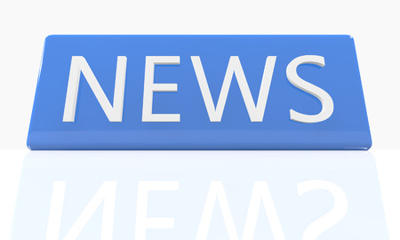 news headlines: News - 3d render blue box with text on it on white background with reflection