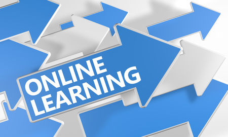 self exam: Online Learning 3d render concept with blue and white arrows flying over a white background.