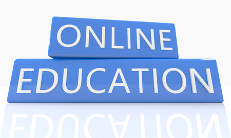 self exam: Online Education - 3d render blue box with text on it on white background with reflection Stock Photo