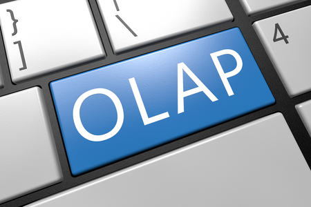 online analytical processing: OLAP - Online Analytical Processing - keyboard 3d render illustration with word on blue key