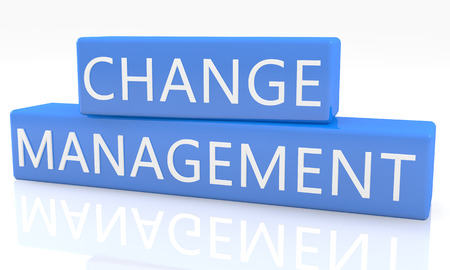 management process: Change Management - 3d render blue box with text on it on white background with reflection